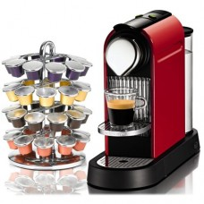 Nespresso CitiZ Red Automatic Espresso Maker with Bonus Chrome 40 Capsule Carousel