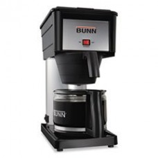 BUNN Products - BUNN - 10-Cup Pour-O-Matic Coffee Brewer, Black - Sold As 1 Each - Brews coffee in three minutes. - Includes hot water reservoir to make hot chocolate, tea, soup, cereal, etc. - Thermostat controlled brewing temperature. - Includes 10-cup