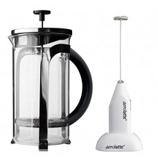 Aerolatte White Frother with Stand and 8-Cup French Press