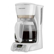 Black & Decker DCM2160 12-Cup Glass Carafe Programmable Drip Coffeemaker, White