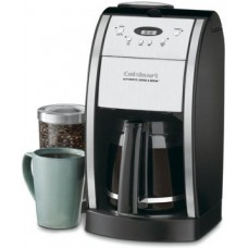 Cuisinart Grind & Brew 12-Cup Automatic Coffeemaker, Features Built In Grinder, 12 Cup Carafe with Ergonomic Handle, Dripless Spout and Knuckle Guard, with Pause N' Brew Option, 24 Hour Fully Programmable and Gold Tone/Charcoal Filter Included