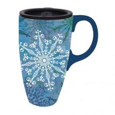 Ceramic Latte Travel Mug Snowflake Holiday Elegance Blue