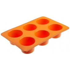 Casabella Silicone 6-Cup Large Muffin Pan, Orange