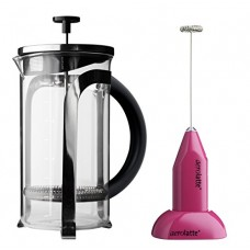 Aerolatte Pink Frother with Stand and 8-Cup French Press