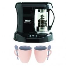 Nesco Cr-1010-prr Coffee Bean Roaster, 800 Watt + 2 13 Oz White Tiara Cappuccino Cups