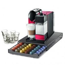 DeLonghi Lattissima Plus Red Capsule Espresso and Cappuccino Machine with 60 Capsule Storage Drawer and Free Set of 6 Italian Espresso Shot Glasses