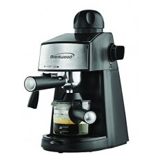 Espresso & Cappuccino Maker - Coffee Java Powerful Steamer Frothing Nozzle Glass Decanter Measuring Scoop - Black by Brentwood