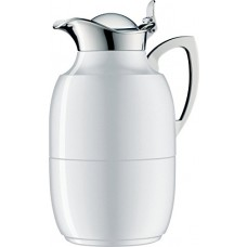 alfi Juwel Glass Vacuum Lacquered Metal Thermal Carafe for Hot and Cold Beverages, 1.0 L, Polar White