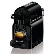 Nespresso Inissia Espresso Machine by De'Longhi, Black Includes Knox Gear Handheld Milk Frother and Ceramic Tiara Espresso Cup and Saucer