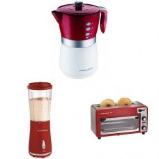 Hamilton Beach Coffee Maker, Toaster Oven, and Single-Serve Blender Bundle, Red